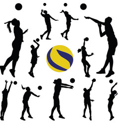 Volleyball man and woman player vector
