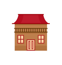 wood house icon flat style vector image