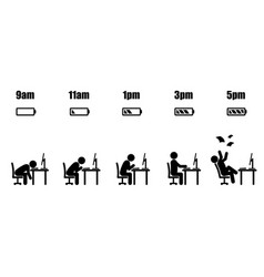 working hour evolution vector image