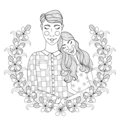 Zentangle Hand drawn lovely Couple for adult vector image