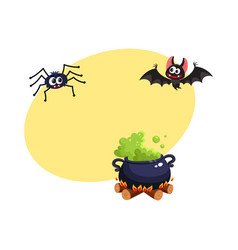 caldron bat and spider traditional halloween vector image vector image