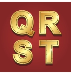 Gold letters alphabet font style Q R S T vector image vector image