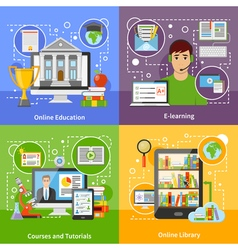 Online education concept 4 flat icons vector