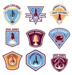 Space camp emblems rocket launch astronaut vector