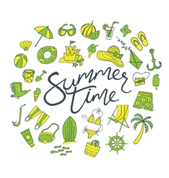 summer time pattern green yellow vector image