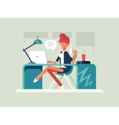 Young girl at workplace vector image