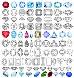 cut precious gem stones set vector image vector image