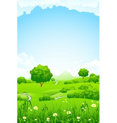 green fileds background vector image vector image