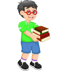 handsome children cartoon walking with bring books vector image vector image