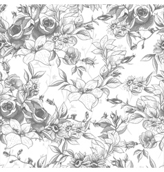 Seamless monochrome floral background with roses vector image vector image