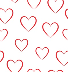 Seamless pattern of red hearts on a white vector image