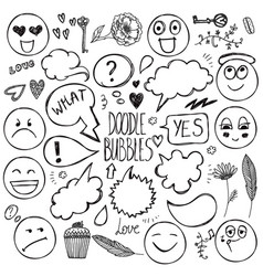 set of hand drawn doodle bubbles faces vector image vector image