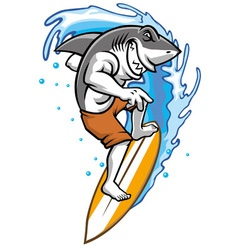 surfing shark vector image vector image