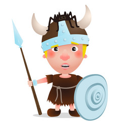 Viking have a spider on the hat cartoon character vector