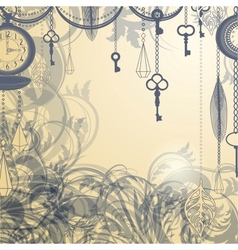 Vintage background with antique clocks and keys vector image vector image