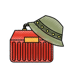 Fishing kit box with hat icon vector