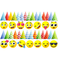 happy birthday emoji icons vector image