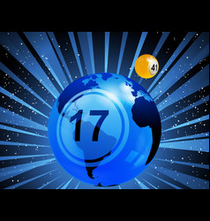 Planet earth with bingo lottery number in the vector