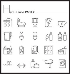 Airport element line icon set 2mono pack vector