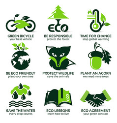 flat icon set for eco friendly environment vector image vector image