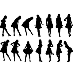 girls in various poses vector image