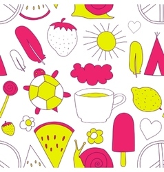 hand drawn neon doodles pattern vector image vector image