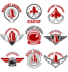 space labels rocket launch astronaut academy vector image vector image