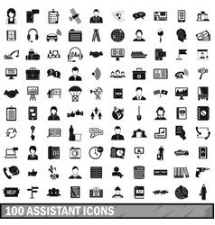100 assistant icons set simple style vector