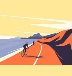 a cyclist riding along the vector image