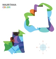 Abstract color map of Mauritania vector