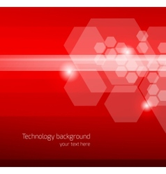 Abstract red background with hexagons vector