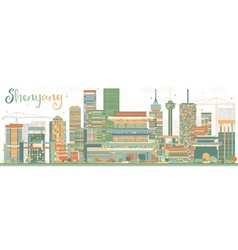 Abstract Shenyang Skyline with Color Buildings vector image