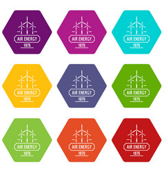 Air energy icons set 9 vector