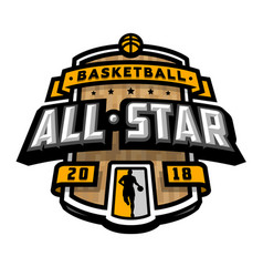 all stars of basketball logo emblem vector image