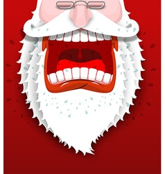 Angry Santa Claus shouts Unhappy Santa with big vector image