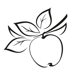 Apple with leaves black pictograph vector