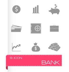 bank icons set vector image