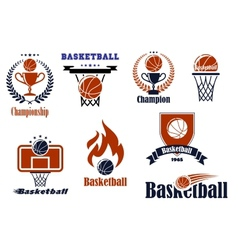 Basketball game emblems and banners vector image