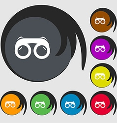 binoculars icon sign Symbols on eight colored vector image
