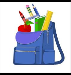 blue school backpack with school supplies vector image