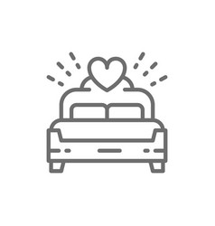 Bridal bed king size line icon vector