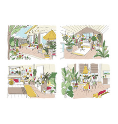 Bundle of colorful free sketches of house or vector