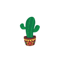 cactus plant in pot symbol for cinco de mayo vector image
