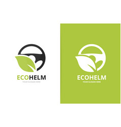 Car helm and leaf logo combination vector