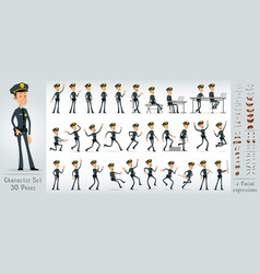 Cartoon flat sheriff boy character big set vector