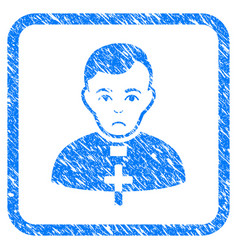 Catholic priest framed stamp vector