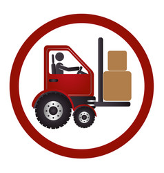 Circular emblem with forklift truck with forks vector