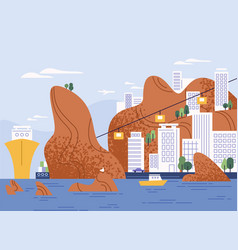 City on mountain with amazing seascape flat vector