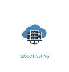 cloud hosting concept 2 colored icon simple blue vector image