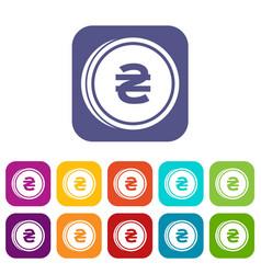 Coin hryvnia icons set vector